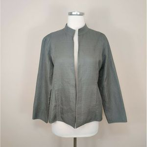 Eileen Fisher Silk Jacket Open Front Long Sleeve